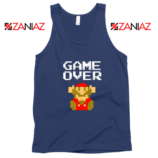 Super Mario Fall Tank Top Game Over Mario Best Tank Top Size S-3XL Navy Blue