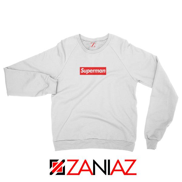 Superman Superhero Sweatshirt Supreme Parody Sweatshirt Size S-2XL White