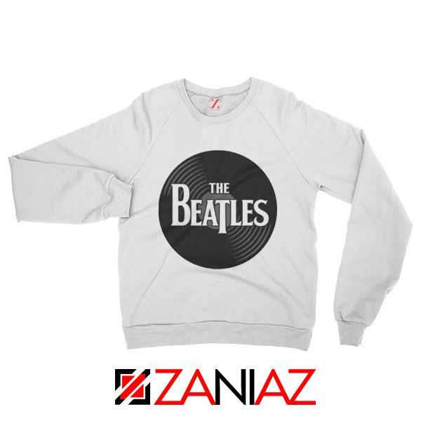 The Beatles Logo Record Style Sweatshirt Pop Music Sweatshirt White