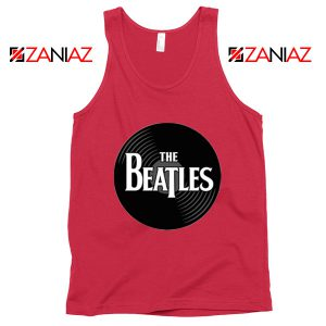 The Beatles Logo Record Style Tank Top Music Tank Top Size S-3XL Red