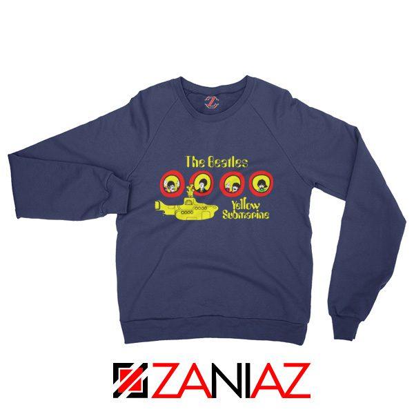 The Beatles Yellow Submarine Sweatshirt Music Band Sweatshirt Navy Blue