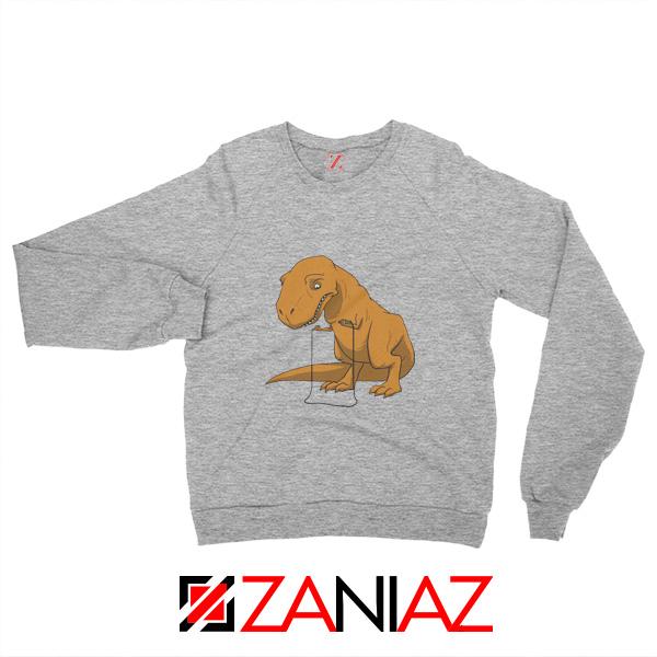 Tyrannosaurus Rex Sweatshirt Animal Fitness Sweatshirt Size S-2XL Sport Grey