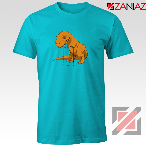 Tyrannosaurus Rex Tee Shirt Animal Fitness Tshirt Size S-3XL Light Blue