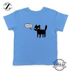 Wellcome Black Cat Kids Tshirt Cat Lover Youth Tee Shirt Size S-XL Light Blue