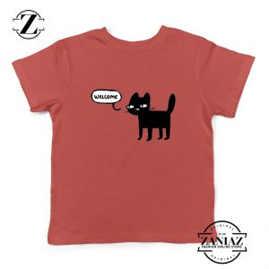 Wellcome Black Cat Kids Tshirt Cat Lover Youth Tee Shirt Size S-XL Red