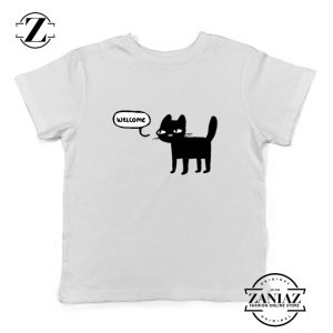 Wellcome Black Cat Kids Tshirt Cat Lover Youth Tee Shirt Size S-XL White
