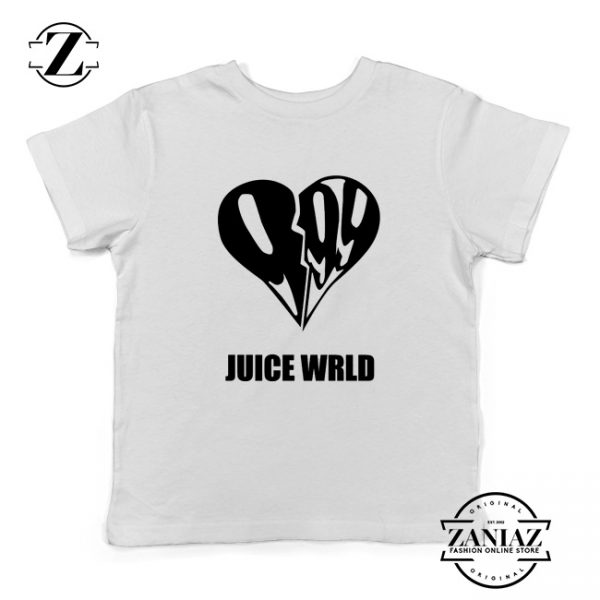 999 Heart WRLD Youth Shirts Juice Rapper Kids T-Shirt Size S-XL White