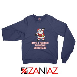 Awesome Christmas Sweatshirt Ugly Christmas Sweatshirt Size S-2XL Navy Blue