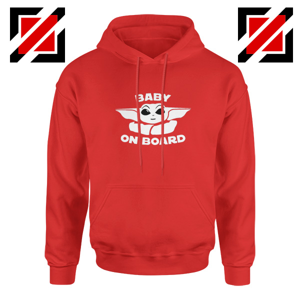 Baby On Board The Mandalorian Hoodie Baby Yoda Hoodie Size S-2XL Red
