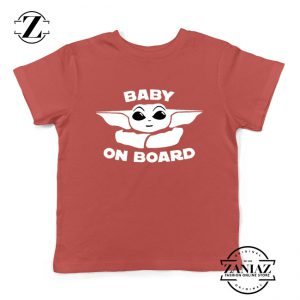Baby On Board The Mandalorian Kids Shirt Baby Yoda Youth Shirts Red
