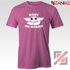 Baby On Board The Mandalorian Tee Shirt Baby Yoda T-Shirt Size S-3XL Pink