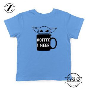 Baby Yoda Coffee I Need Kids Shirt Funny Star Wars Gifts Youth Shirts