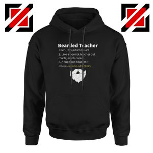 Bearded Teacher Hoodie Male Teacher Gifts For Him Hoodie S-2XL Black