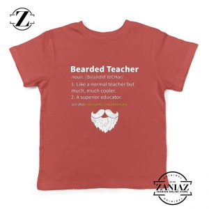 Bearded Teacher Kids Shirts Male Teacher Gifts For Him Youth T-Shirt Red