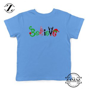 Believe Christmas Kids T-Shirt Christmas Youth Tee Shirt Size S-XL Light Blue