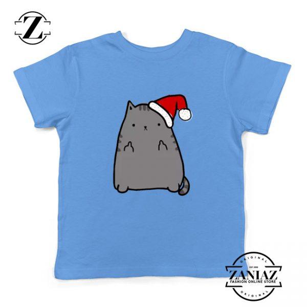 Buy Christmas Kitty Youth T-Shirt Ugly Christmas Kids T-shirt Light Blue