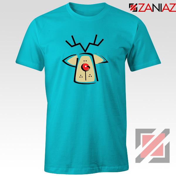 Buy Christmas Reindeer Tee Shirt Ugly Christmas T-Shirt Size S-3XL Light Blue