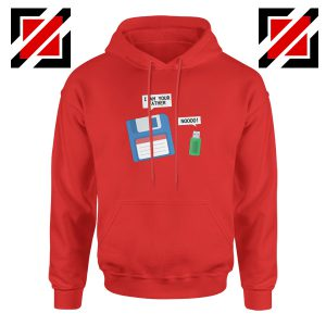 Computer Tech USB Father Hoodie Floppy Disk Hoodie Size S-2XL Red