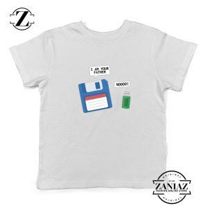 Computer Tech USB Father Youth T-Shirt Floppy Disk Kids Shirt Size S-XL White