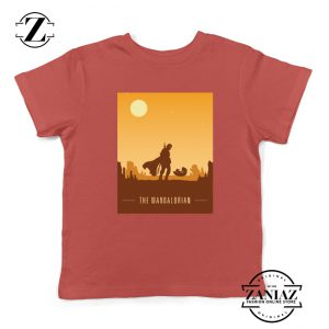 Earthy Mandalorian Kids Shirts Star Wars TV Series Youth Tshirt Size S-XL Red