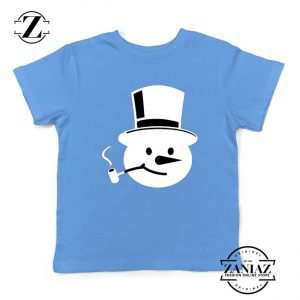 Frosty The Snowman Kids T-Shirt Christmas Gift Youth T-Shirt Light Blue