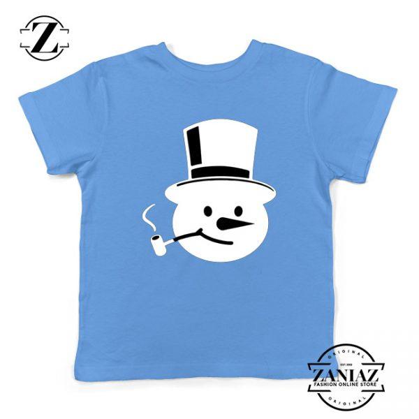 Frosty The Snowman Kids T-Shirt Christmas Gift Youth T-Shirt Light Blue