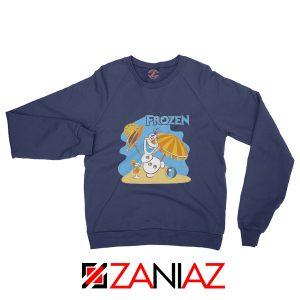 Frozen Olaf Playing Sweatshirt Disney Women Sweatshirt Size S-2XL Navy Blue