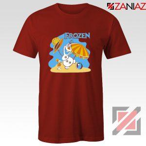 Frozen Olaf Playing Tee Shirt Disney Women T-Shirt Size S-3XL Red