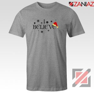 I Believe Christmas T-Shirt Snowflakes Gift Tee Shirt Size S-3XL Sport Grey
