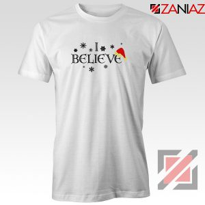 I Believe Christmas T-Shirt Snowflakes Gift Tee Shirt Size S-3XL White