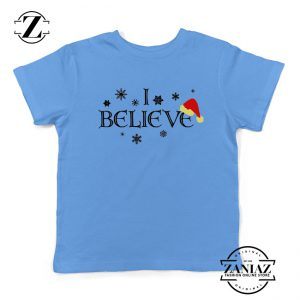 I Believe Christmas Youth Shirt Snowflakes Gift Kids T-Shirt Light Blue