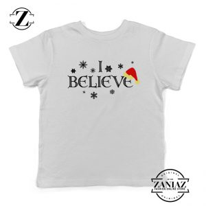 I Believe Christmas Youth Shirt Snowflakes Gift Kids T-Shirt White