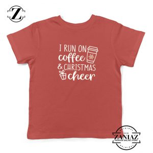 I Run On Coffee Kids T-Shirt Christmas Cheer Youth Shirt Size S-XL Red
