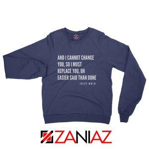 Juice WRLD Hip Hop Sweatshirt American Rapper Sweatshirt Size S-2XL Navy Blue