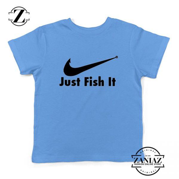 Just Fish It Kids Shirts Funny Nike Parody Youth T-Shirt Size S-XL