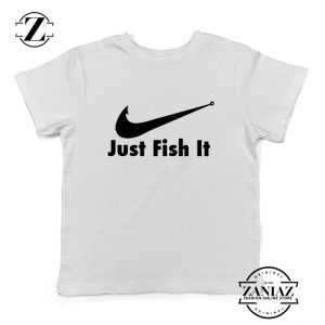 Just Fish It Kids Shirts Funny Nike Parody Youth T-Shirt Size S-XL White