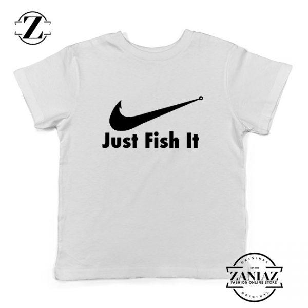 Just Fish It Kids Shirts Funny Nike Parody Youth T-Shirt Size S-XL White