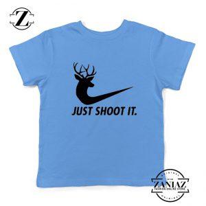 Just Shoot It Parody Kids Shirts Humor Youth Tee Shirt Size S-XL Light Blue