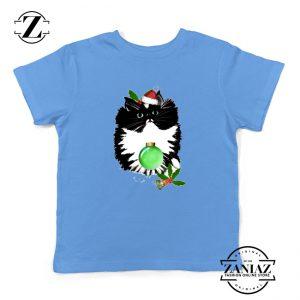 Little Tuxedo Kitten Kids T-shirt Christmas Ugly Youth Shirt Size S-XL Light Blue