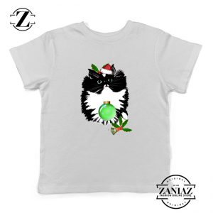 Little Tuxedo Kitten Kids T-shirt Christmas Ugly Youth Shirt Size S-XL White