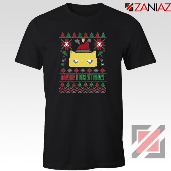MEOW Christmas T-Shirt Funny Ugly Christmas Tee Shirt Size S-3XL Black