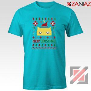 MEOW Christmas T-Shirt Funny Ugly Christmas Tee Shirt Size S-3XL Light Blue