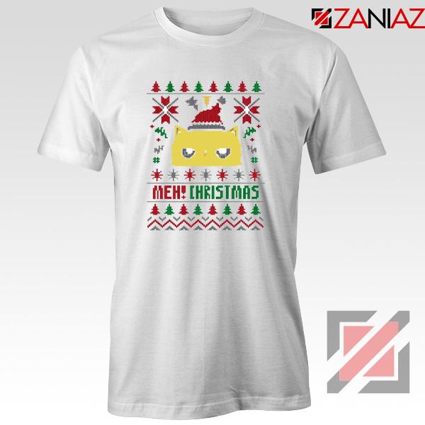 MEOW Christmas T-Shirt Funny Ugly Christmas Tee Shirt Size S-3XL White