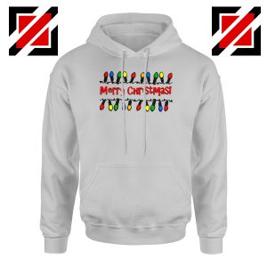 Merry Christmas Lighting Hoodie Happy Christmas Hoodie Size S-2XL Sport Grey