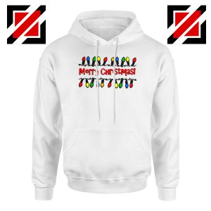 Merry Christmas Lighting Hoodie Happy Christmas Hoodie Size S-2XL White