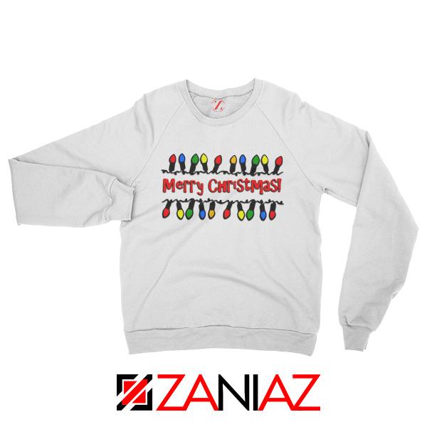 Merry Christmas Lighting Sweatshirt Christmas Sweatshirt Size S-2XL White
