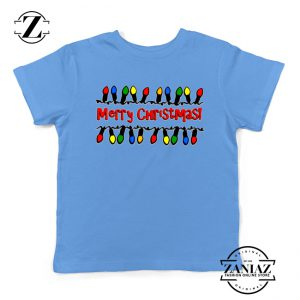 Merry Christmas Lighting Youth T-Shirt Christmas Kids Shirts Light Blue