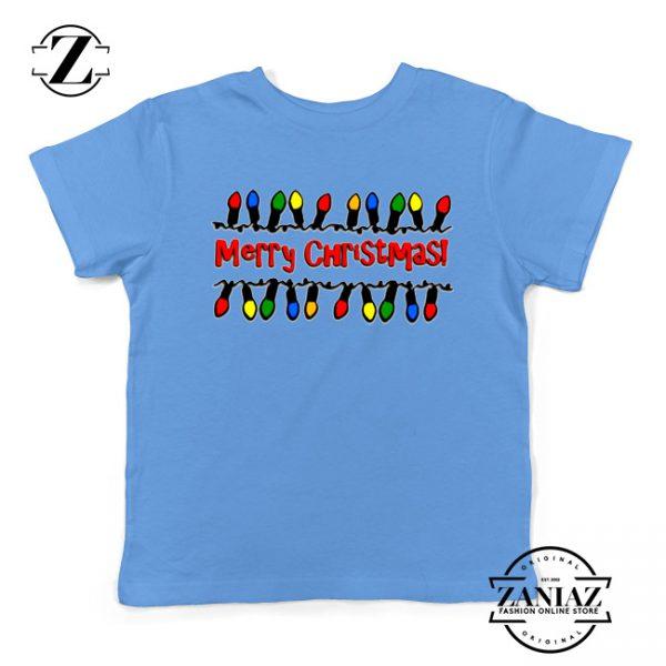 Merry Christmas Lighting Youth T-Shirt Christmas Kids Shirts Light Blue
