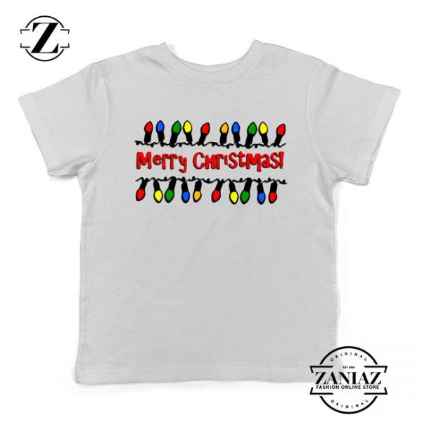 Merry Christmas Lighting Youth T-Shirt Christmas Kids Shirts White