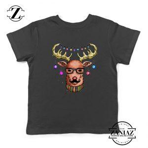 Merry Christmas Reindeer Youth Shirt Christmas Kids T-Shirt Black